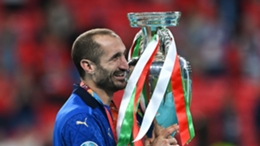 Italy captain Giorgio Chiellini celebrates with the European Championship trophy