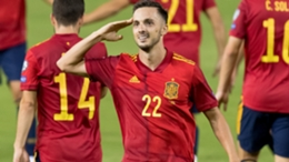Pablo Sarabia after scoring for Spain against Georgia