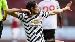 Edinson Cavani after scoring for Manchester United against Aston Villa