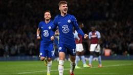Chelsea's Timo Werner celebrates against Aston Villa