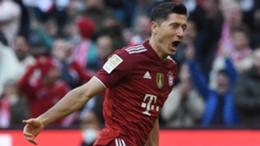 Bayern Munich's Robert Lewandowski celebrates scoring against Hoffenheim