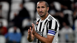 Giorgio Chiellini of Juventus FC claps during the Serie A 2021/2022 football match between Juventus FC and AC Milan.