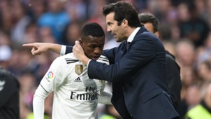 Vinicius Junior and Santiago Solari - cropped