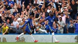 Romelu Lukaku (right) celebrates scoring for Chelsea