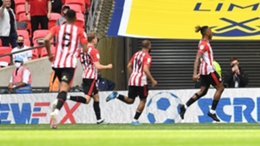 Ivan Toney celebrates his goal for Brentford in the Championship play-off final