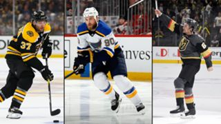 Patrice Bergeron (left) Ryan O'Reilly (center) and Mark Stone