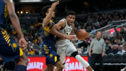Giannis Antetokounmpo #34 of the Milwaukee Bucks drives to the basket the Indiana Pacers
