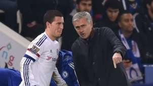 Eden Hazard and Jose Mourinho - cropped