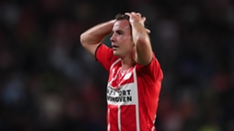 Mario Gotze reacts to PSV's elimination from the Champions League at the final qualifying hurdle