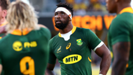 South Africa's captain Siya Kolisi (2nd R) looks on during the rugby Championship match against New Zealand in Townsville