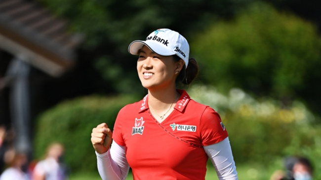 Minjee Le celebrates her win at the Evian Championship