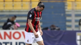 Milan striker Zlatan Ibrahimovic was sent off against Parma