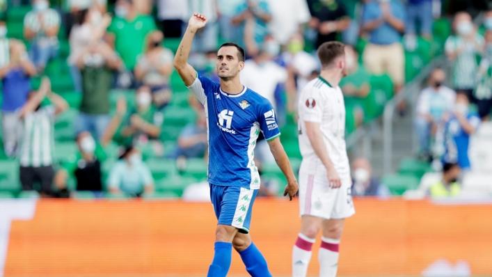 Juanmi celebrates one of his two goals against Celtic