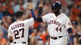 Houston Astros star Yordan Alvarez (R) celebrates with team-mate Jose Altuve