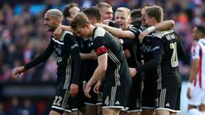 Ajax players celebrate - cropped