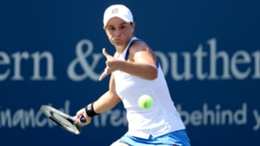 Ash Barty in action against Angelique Kerber