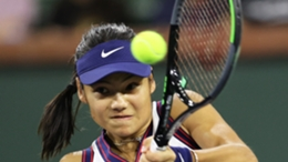 Emma Raducanu in action at the Indian Wells Open