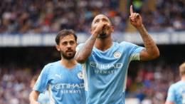 Gabriel Jesus celebrates scoring against Chelsea