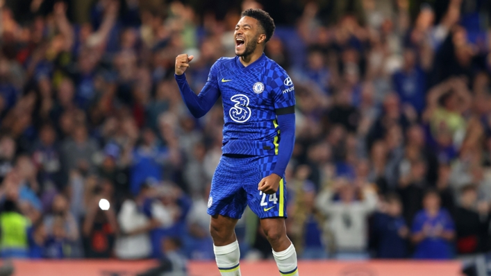 Reece James celebrates his winning penalty