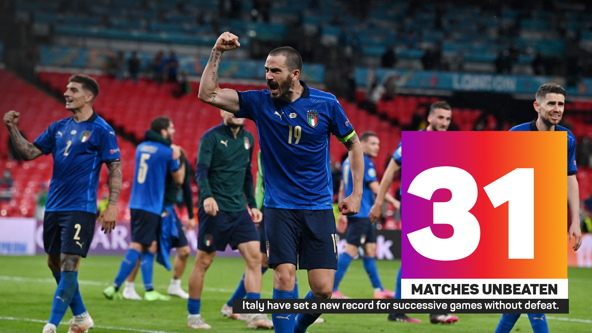 Italy have set a new record for successive games without defeat