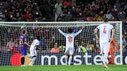 Bayern celebrate scoring against Barcelona in their 3-0 win