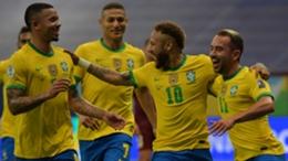 Neymar (second from right) celebrates his penalty in Brazil's Copa America win over Venezuela