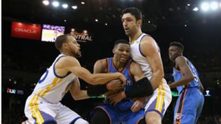 Zaza Pachulia (right) and Russell Westbrook