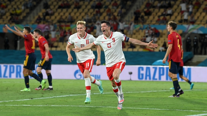 Robert Lewandowski celebrates equaling for Poland