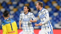 Inter's Christian Eriksen (right) celebrates his goal against Napoli