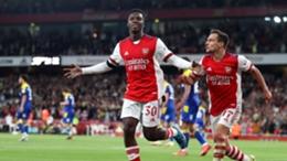 Eddie Nketiah celebrates his stunning goal