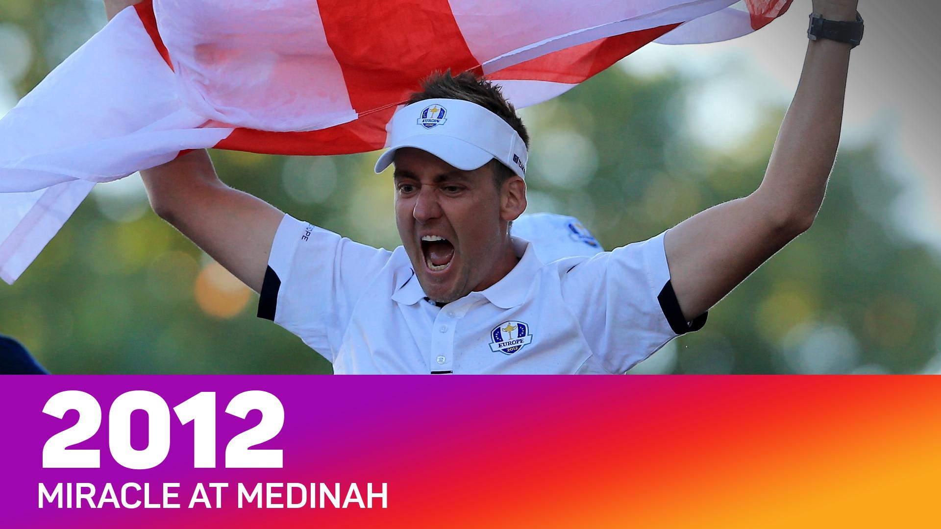 Ian Poulter celebrates Europe's win at Medinah