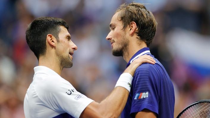 Novak Djokovic congratulates Daniil Medvedev
