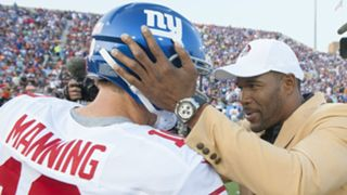 Eli Manning and Michael Strahan