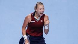 Anett Kontaveit celebrates beating Marketa Vondrousova in the Kremlin Cup