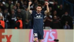 PSG's Lionel Messi celebrates his goal against Manchester City