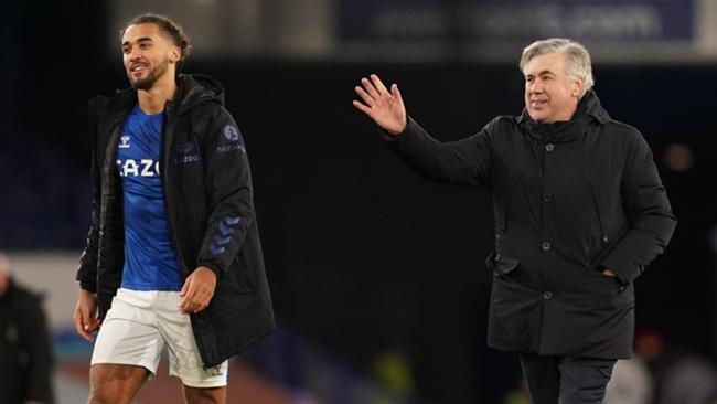 Carlo Ancelotti and Dominic Calvert-Lewin