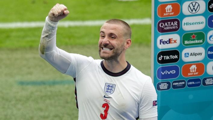 Luke Shaw celebrates England's win over Germany at Wembley