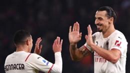 Ismael Bennacer and Zlatan Ibrahimovic celebrates as Milan win at Bologna