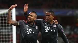 Douglas Costa and Arturo Vidal of Bayern Munich