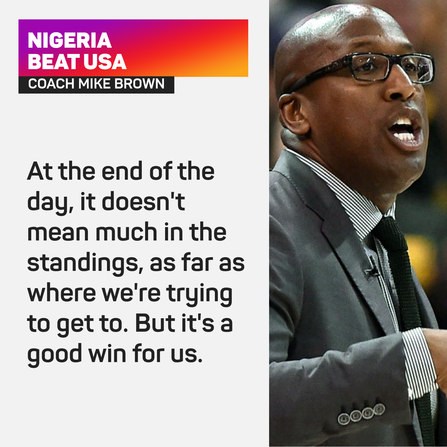 Mike Brown reacts to Nigeria's win