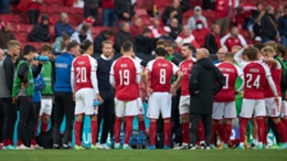 Kasper Hjulmand and his Denmark players following the distressing scenes involving Christian Eriksen
