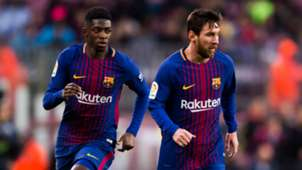 Ousmane Dembele and Lionel Messi - cropped