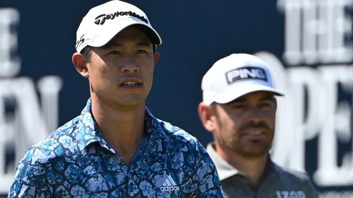 Collin Morikawa (left) and Louis Oosthuizen