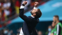 England manager Gareth Southgate celebrates victory over Germany