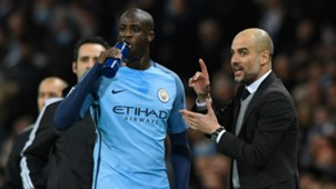 Yaya Toure and Pep Guardiola - cropped