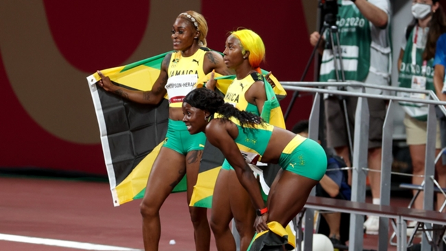 Jamaica took all three medals in the women's 100m sprint