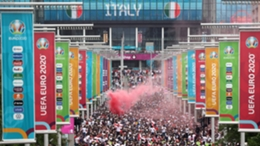 England and Italy supporters make their way towards Wembley