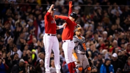 Kyle Schwarber and the Boston Red Sox celebrate his grand slam