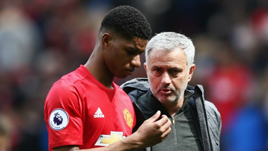 Marcus Rashford with Jose Mourinho