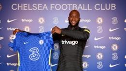 Romelu Lukaku during his presentation as a Chelsea player